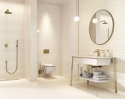 Nowoczesna łazienka ozdobiona płytkami Paradyż Anello