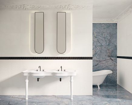Łazienka w stylu klasycznym z białymi kaflami