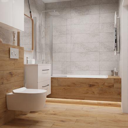 Brązowe drewno i szary kamień w nowoczesnej łazience
