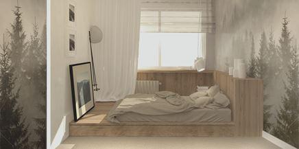 Łóżko na podeście w sypialni