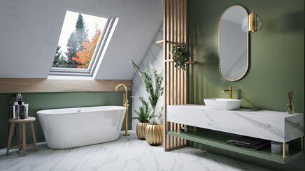 Łazienka na poddaszu w zieleni i marmurze