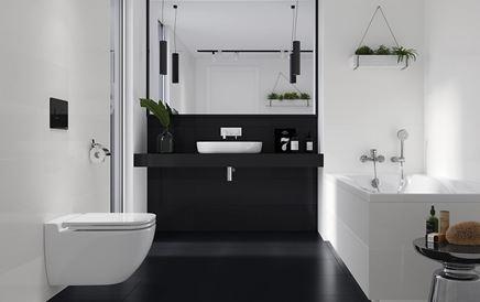 Czarno-biała łazienka w nowoczesnej aranżacji