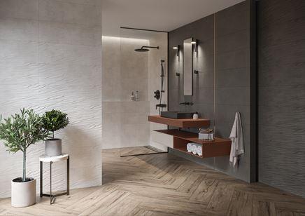 Nowoczesna łazienka w drewnie i betonie ze strukturą
