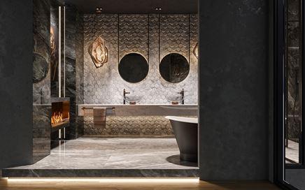 Ciemna łazienka w stylu glamour