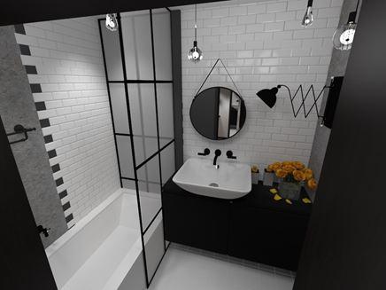 Biało-czarna łazienka w stylu vintage