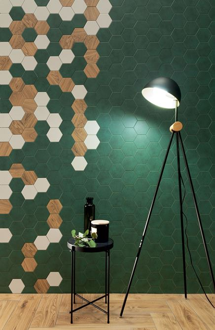Ściana z heksagonami Domino Burano green