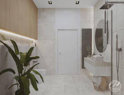 Stonowana aranżacja łazienki w stylu nowoczesnym