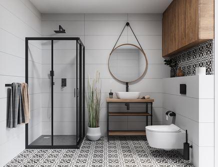 Biało-czarna łazienka z patchworkową płytką Azario Bolivia Negro