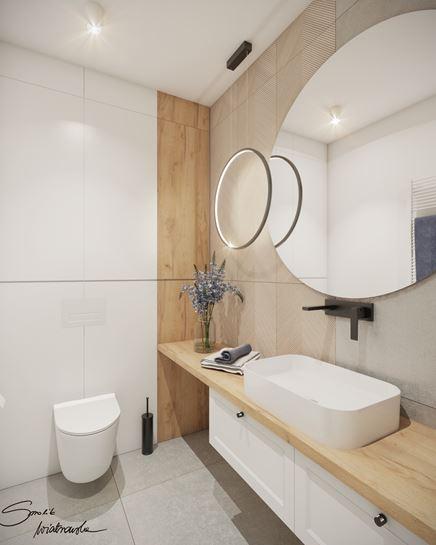Biel, drewno i trójwymiarowy dekor