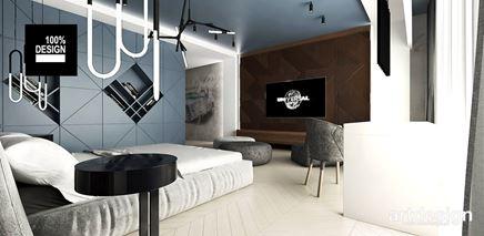 Sypialnia z geometrycznymi motywami