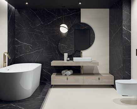 Czarno-biała łazienka z płytkami z motywem kamienia