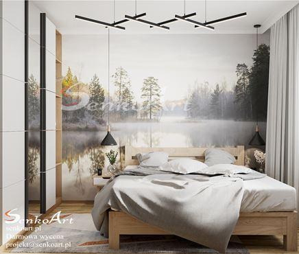 Romantyczna sypialnia z fototapeta
