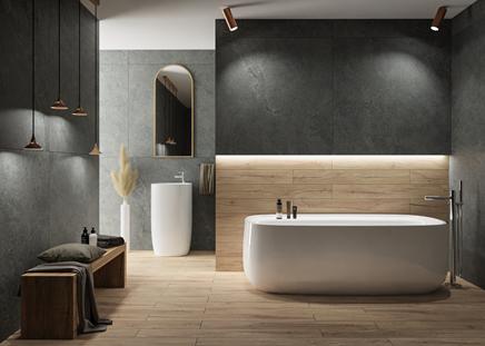 Elegancka łazienka w wielkoformatowym kamieniu i drewnie