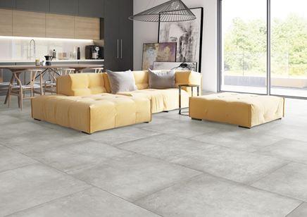 Szary beton w nowoczesnym salonie - Cerrad Lukka