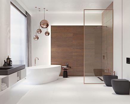Biało-miedziana łazienka w stylu glamour