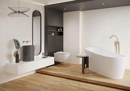 Łazienka glamour w białym marmurze i drewnie