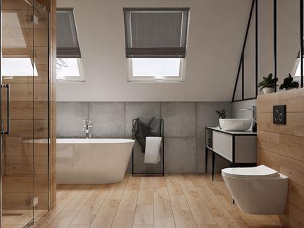 Łazienka na poddaszu z drewnianą podłogą