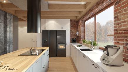 Sielska kuchnia - belki i czerwona cegła