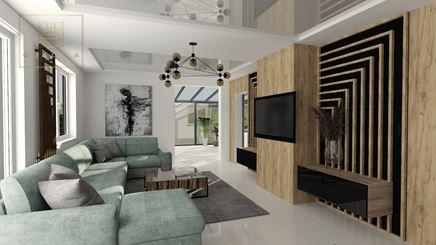 Nowoczesny salon z sufitem napinanym - projekt Qualita Interno