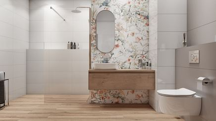 Jasna łazienka z dekoracyjną ścianą Tubądzin Modern Pearl