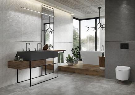Industrialna łazienka w odcieniach szarości