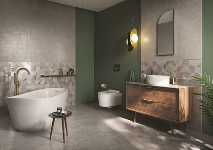 Szaro-zielona łazienka z geometrycznymi dekorami