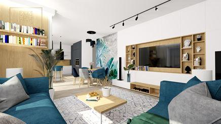 Salon z aneksem i jadalnią w małym mieszkaniu