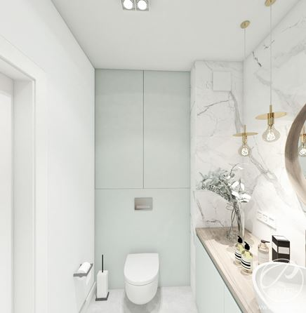 Biała łazienka z miętowym akcentem