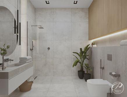 Łazienka z betonową umywalką i prysznicem walk-in