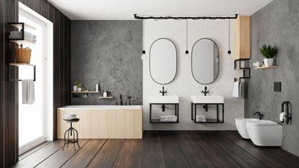 Industrialna łazienka z czarnymi dodatkami