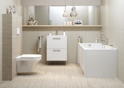 Aranżacja łazienki w jasnych kolorach z białą ceramiką