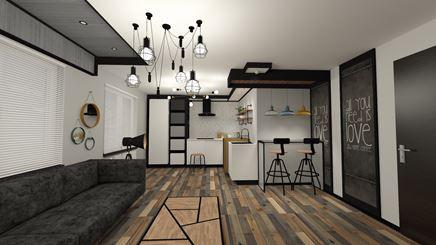 Nowoczesny salon w stylu loft z aneksem