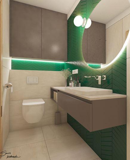 Toaleta w łazience z akcentem zieleni