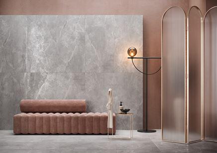 Szary kamień Cersanit Maregno w stylowej łazience
