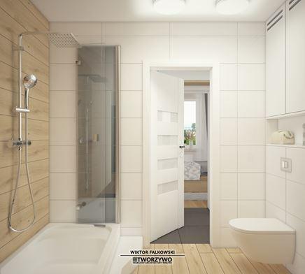 Mała łazienka z prostokątną kabiną prysznicową