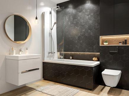 Łazienka z heksagonalną ścianą