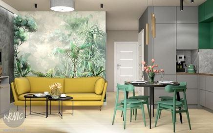 Salon z egzotyczna fototapetą w projekcie KRWC Design