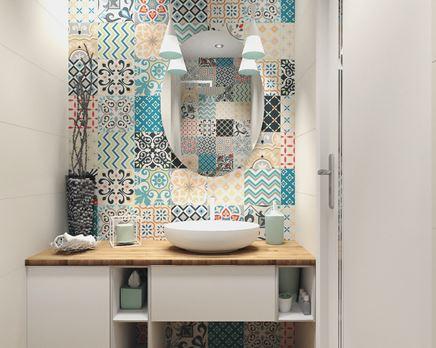 Kolorowe dekory w strefie umywalkowej