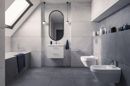 Szara łazienka na poddaszu