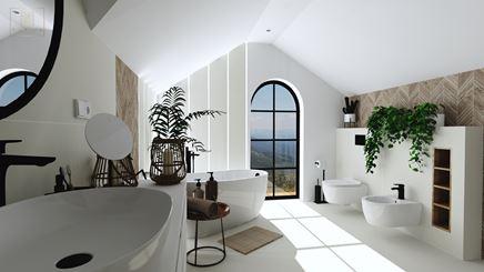 Jasna duża łazienka ze skosami