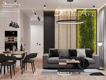Szary salon z naturalnym, zielonym mchem