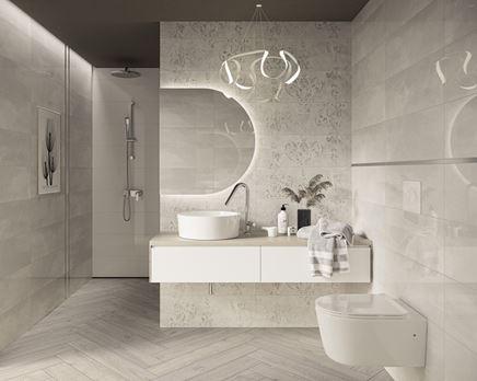 Nowoczesna łazienka w szarościach z ornamentowymi dekorami