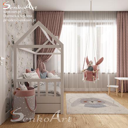 Białe łóżeczko dziecięce - domek w pokoju