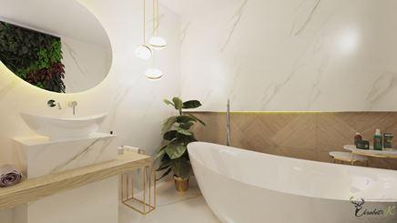 Luksusowa łazienka z ogrodem wertykalnym