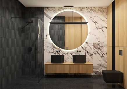 Modna łazienka z nasyconą czernią i drewnem