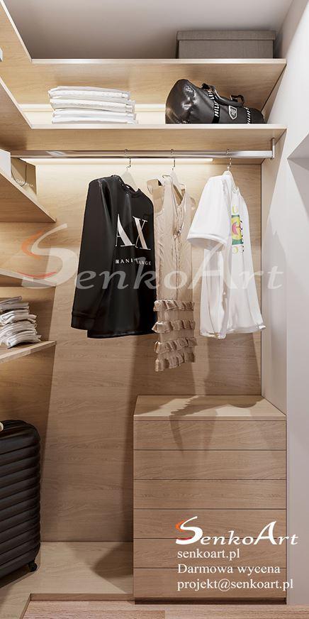 Funkcjonalna garderoba z wykorzystaniem drewna