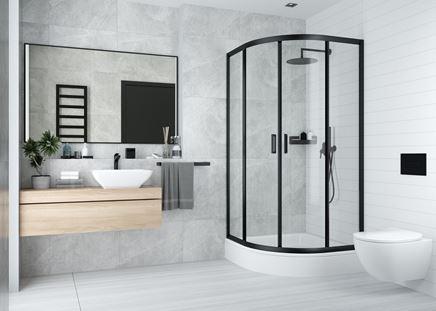 Industrialna łazienka w szarościach i bieli
