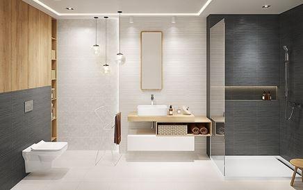 Aranżacja nowoczesnej łazienki w bieli i szarości