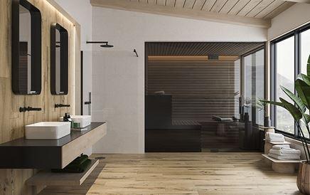 Beżowa łazienka w stylu skandynawskim
