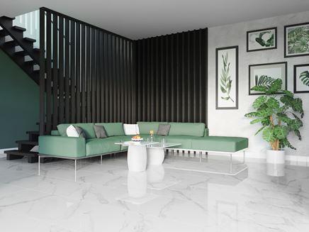 Czarno-biały salon z marmurowymi wykończeniami